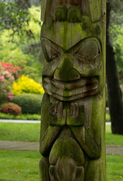 Totem Pole covered in algae, Hastings Park.